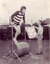 Geelong Football Club's John Scarlett with Tom Trezise